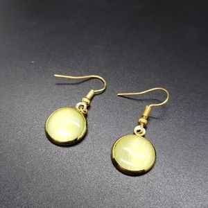 Cats Eye Green Dangle Stud Gold Earrings
